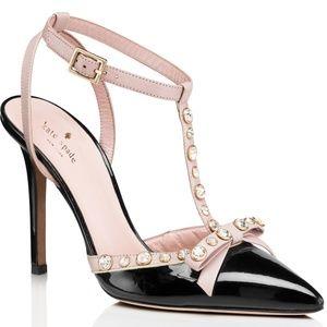 NIB Kate Spade Lydia Black / Pink Studded Heels